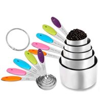 Measuring Cups and Spoons Set of 10, Stainless Steel Kitchen Cups and Spoons for Dry and Liquid Ingredients