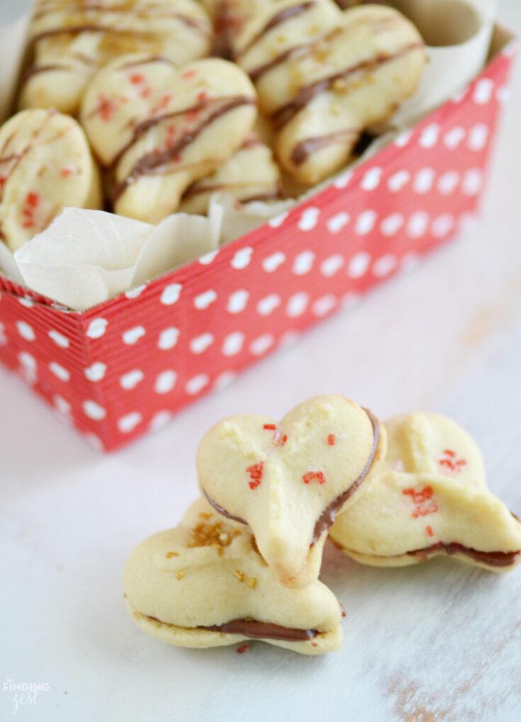 Valentine Spritz Cookies for Valentine's Day